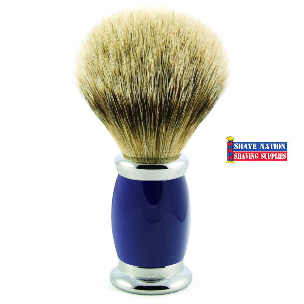 Edwin Jagger Silvertip Badger Shaving Brush Bulbous Blue Handle