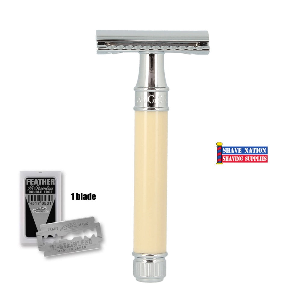 Edwin Jagger Closed Comb DE87BL Imitation Ivory Safety Razor