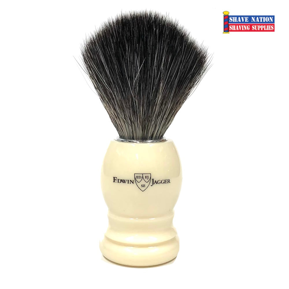 Edwin Jagger Ivory Handle Black Synthetic Fibre Brush