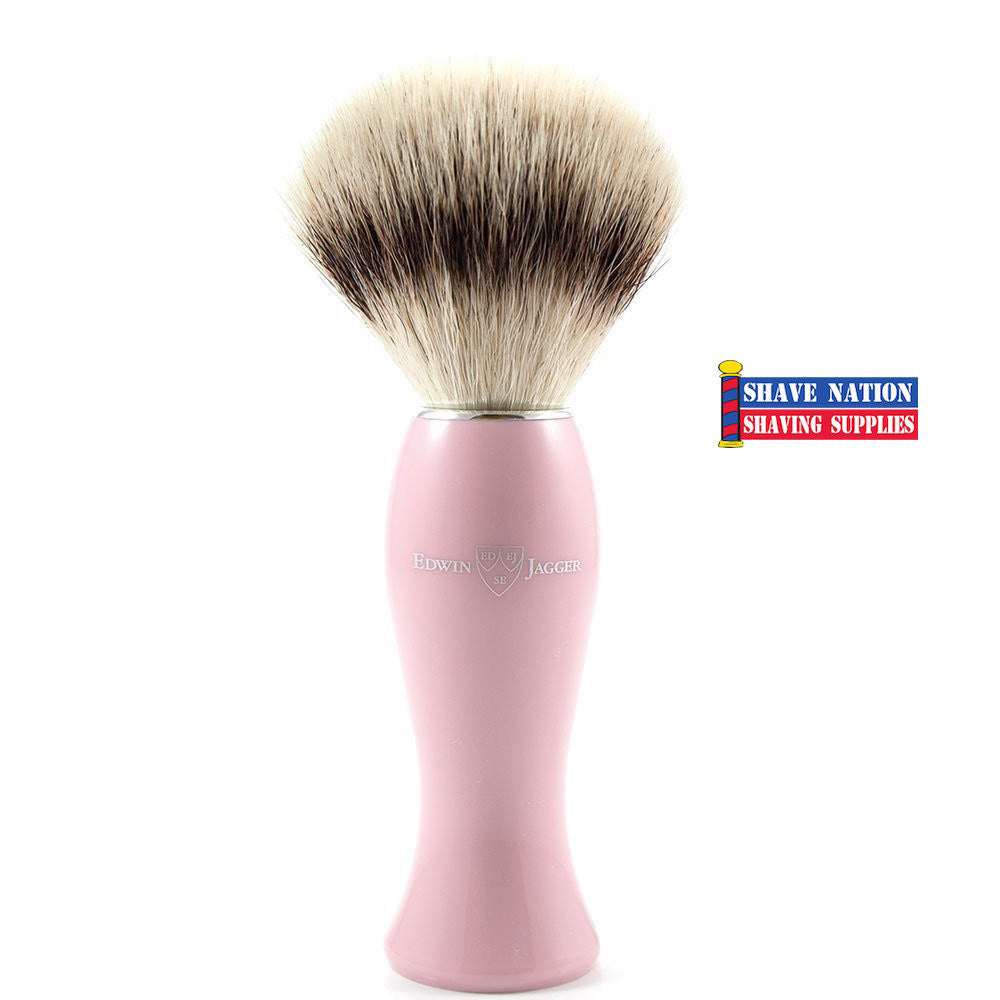 Edwin Jagger Synthetic Silvertip Shaving Brush Pink Handle