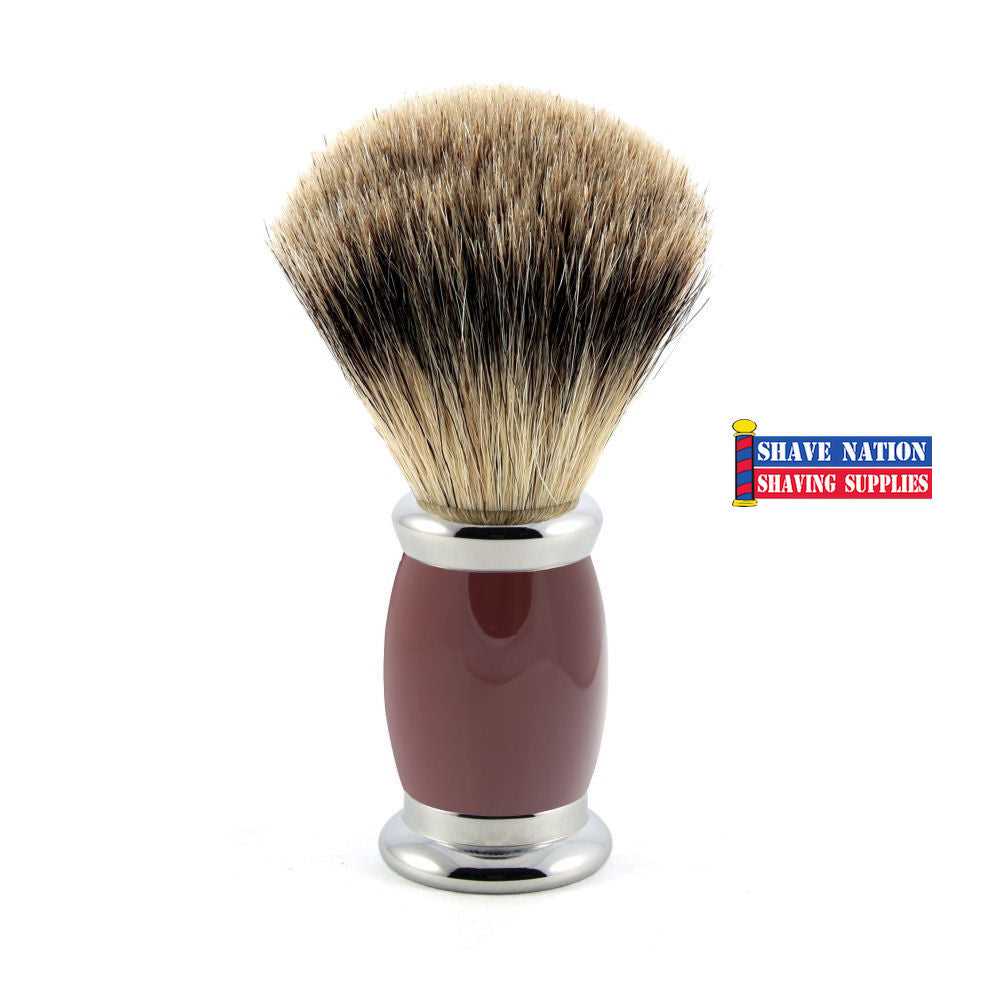 Edwin Jagger Best Badger Shaving Brush Bulbous Red Handle