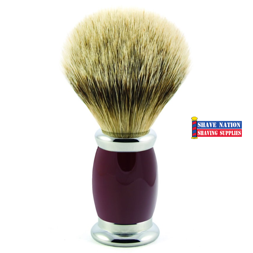 Edwin Jagger Silvertip Badger Shaving Brush Bulbous Red Handle