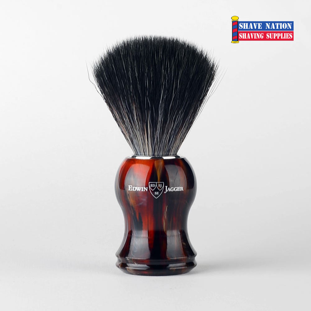 Edwin Jagger Black Synthetic Fiber Brush-Tortoise Handle
