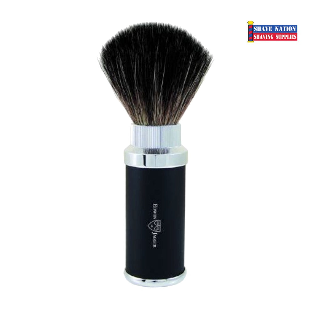 Edwin Jagger Black Synthetic Travel Shaving Brush Black & Chrome Plated Case