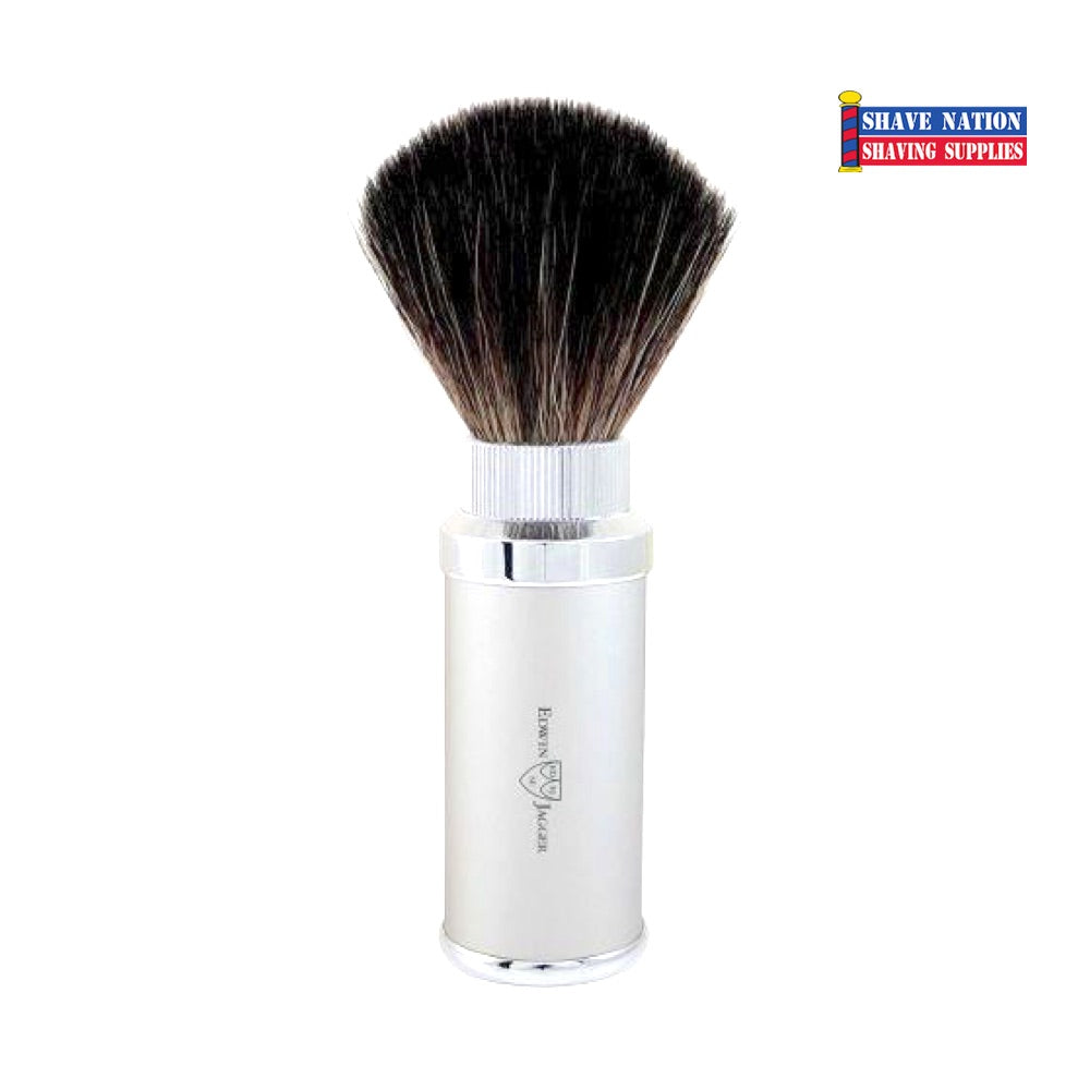 Edwin Jagger Black Synthetic Travel Shaving Brush Silver Chrome Plated Case