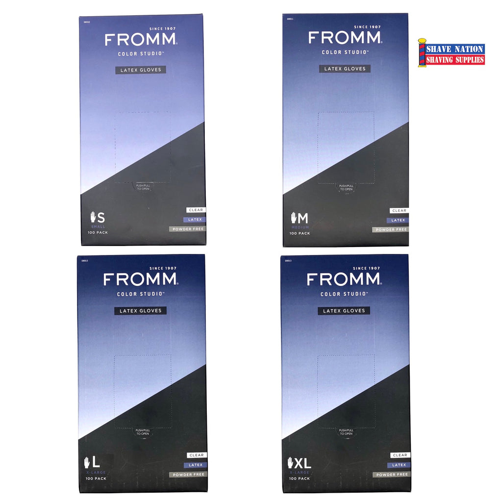 Fromm Latex Gloves Powder Free S-M-L-XL 100ct