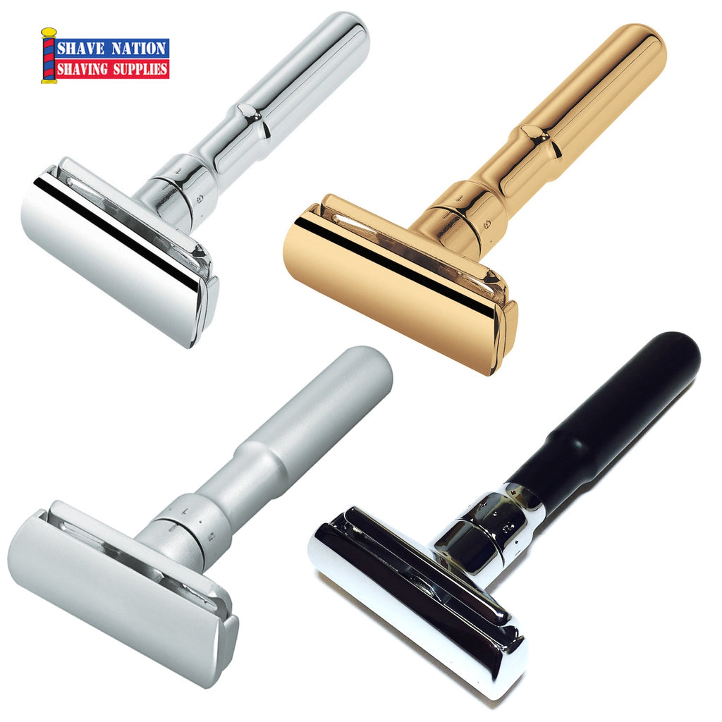 Merkur Futur Adjustable Safety Razor-Chrome-Gold-Satin or Rubber
