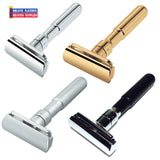 Merkur Futur Adjustable Safety Razor-Chrome-Gold-Satin-Rubber Coated