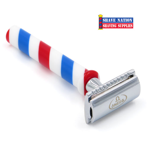 Omega Barber Pole Flat Bar Safety Razor