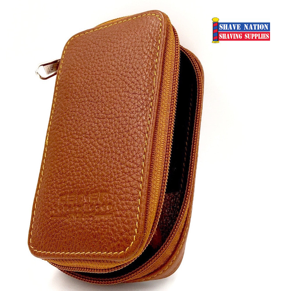 Parker Safety Razor Zip Case Saddle Brown