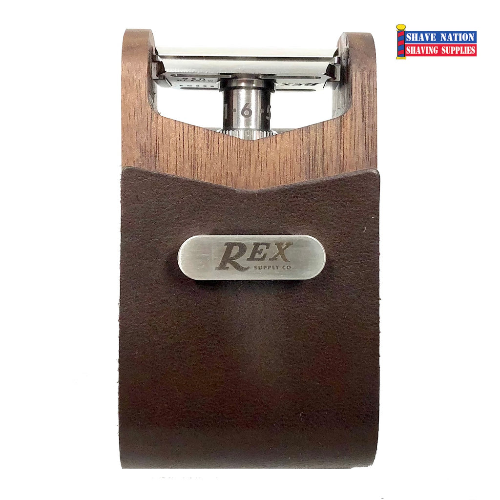 Rex Supply Co Walnut & Leather Safety Razor Travel Case
