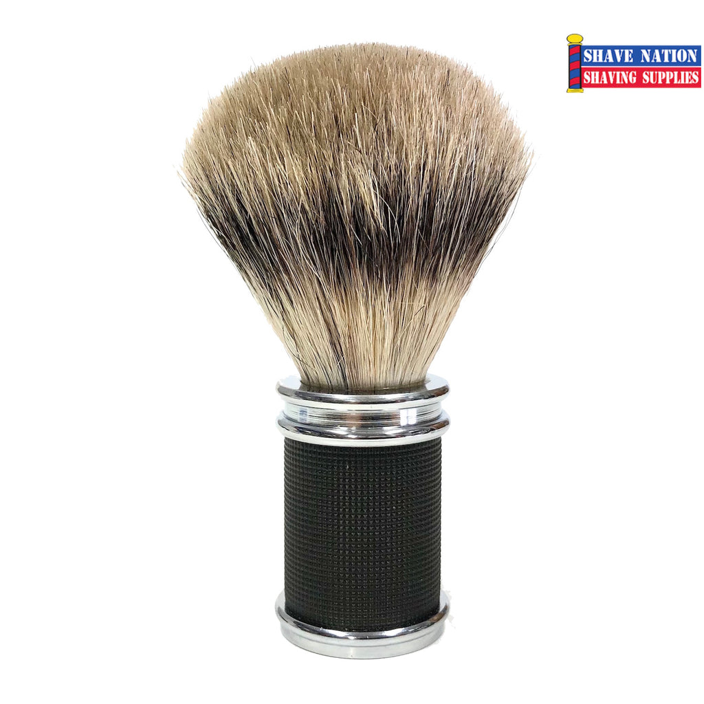 Shave Nation 3D Black and Chrome Handle Pure Badger Brush