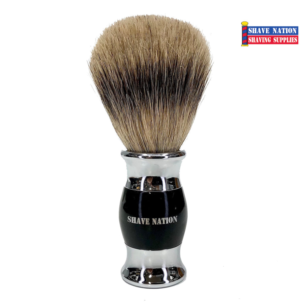 Shave Nation Heavy Black and Chrome Handle Pure Badger Brush