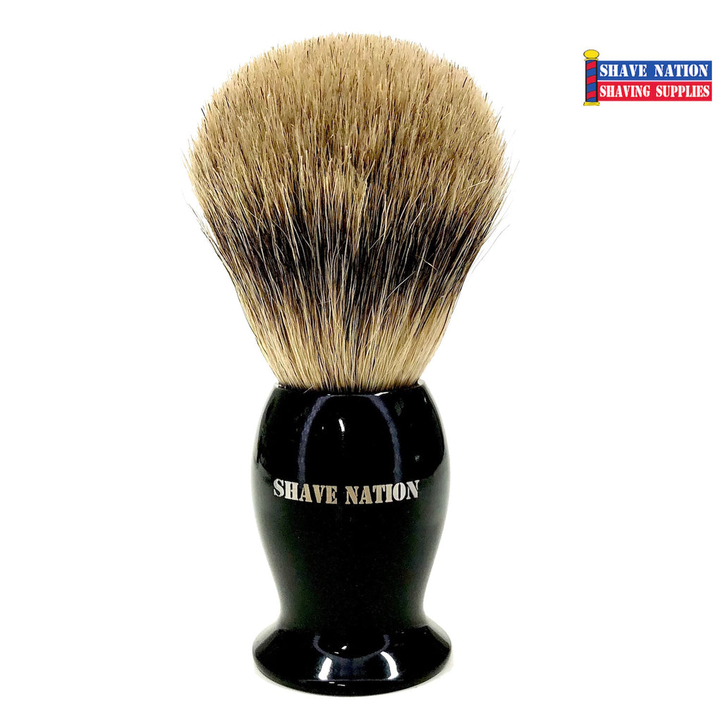 Shave Nation Polished Black Handle Pure Badger Brush