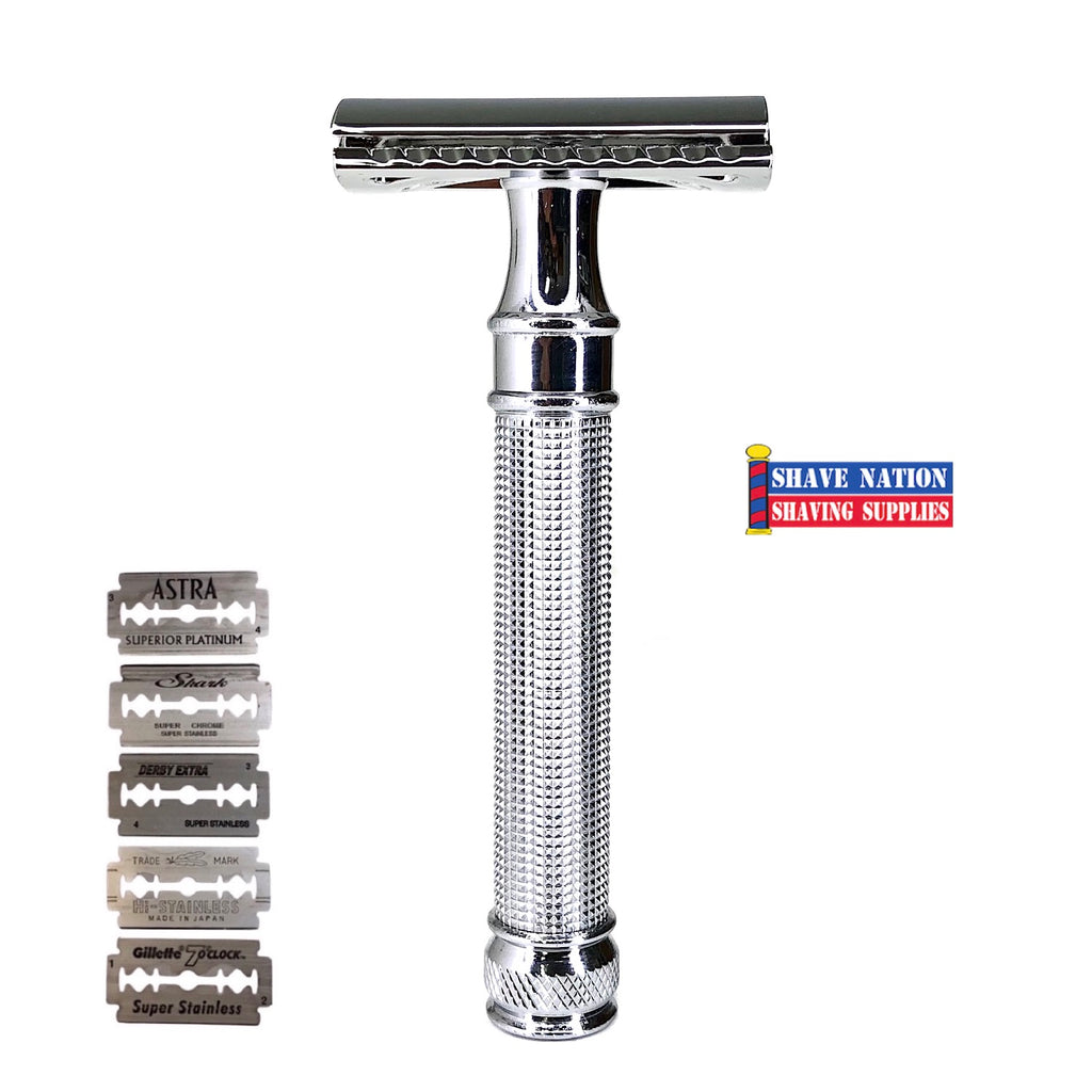 Shave Nation 3D Chrome Closed Comb Safety Razor with Blades