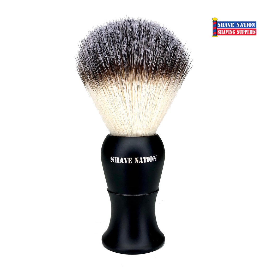 Shave Nation Satin Black Handle Synthetic Shaving Brush