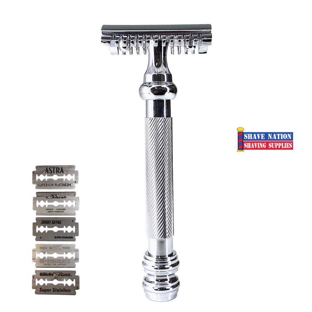 Shave Nation SN250 Open Comb Barber Pole Safety Razor with Blades