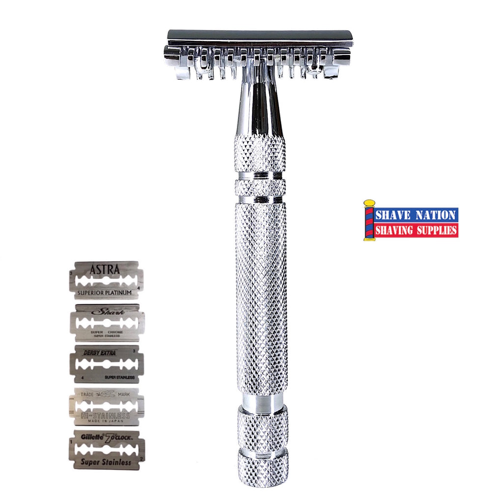 Shave Nation SN246 Open Comb Safety Razor with Blades