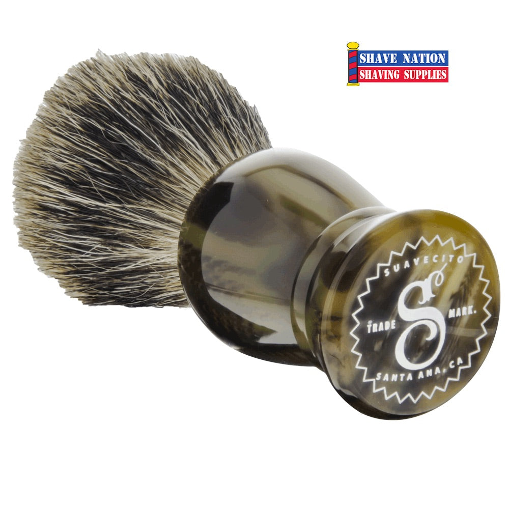 Suavecito Badger Brush Tigers Eye Resin Handle