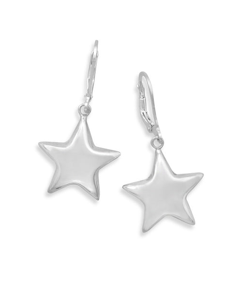 Puffed Star Lever Earrings