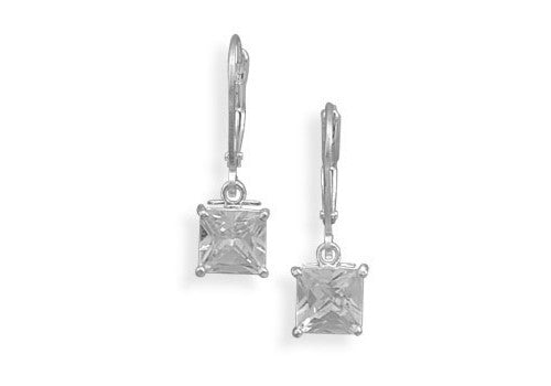 7mm Square Cubic Zirconia Lever Back Earrings