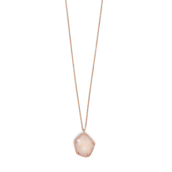 Rose Gold-Plated Necklace with Rose Quartz