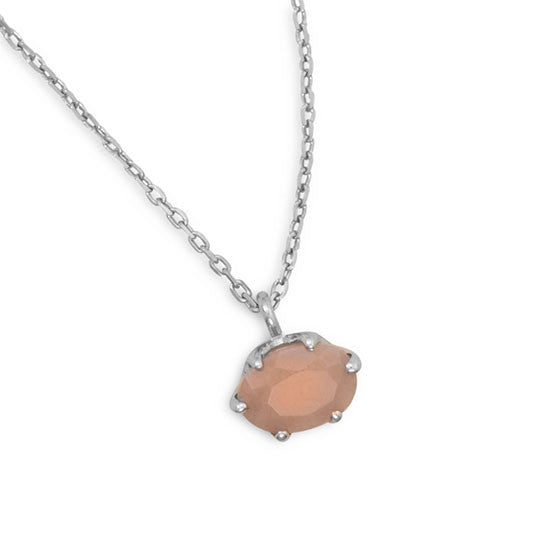 Sixteen Inch Peach Moonstone Pendant Necklace