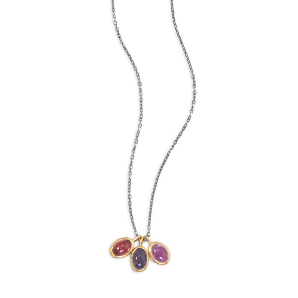 Drop Necklace with Amethyst, Iolite and Garnet