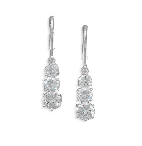 4/5/6mm Cubic Zirconia Lever Back Earrings