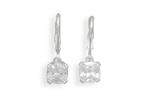 7mm Round Edge Square Cubic Zirconia Lever Back Earrings