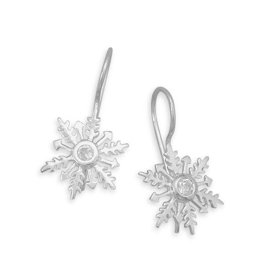 Polished Cubic Zirconia Snowflake Earrings On French Wire