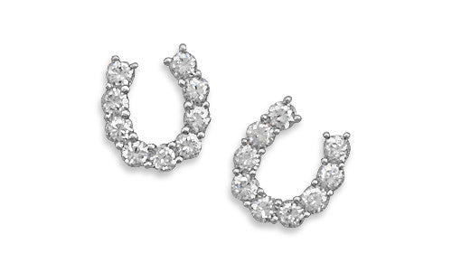 Cubic Zirconia Horseshoe Post Earrings