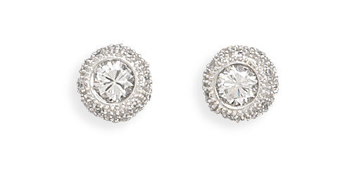 6mm Round Cubic Zirconia/pave Side Post Earrings