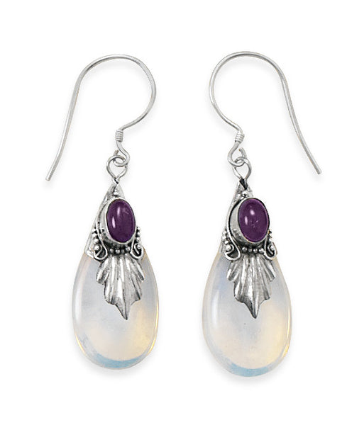 Glass & Amethyst Drop Earrings On French Wire