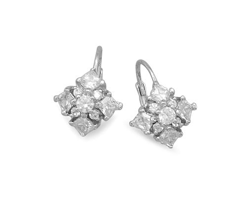 Diamond Pattern Cubic Zirconia Euro Earrings
