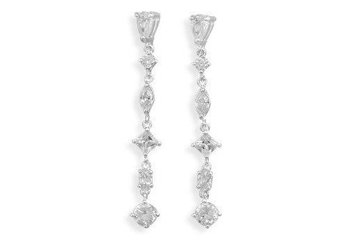 Pear-Shaped Cubic Zirconia Drop Earrings