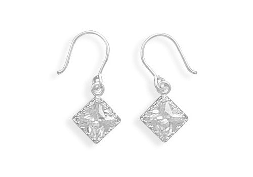 Diamond Shape Cubic Zirconia Edge Drop Earrings