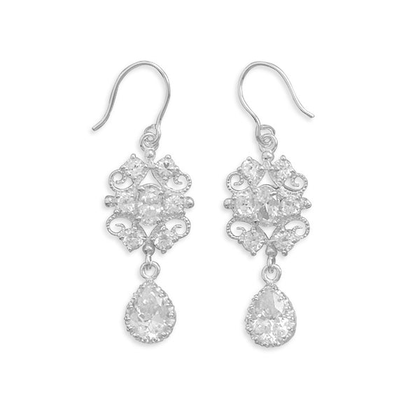 Filigree Design Cubic Zirconia Drop Earrings