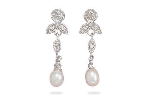 Cubic Zirconia & White Pearl Earrings