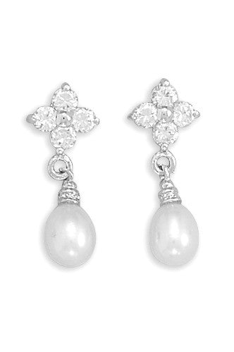 Cubic Zirconia Flower & Cultured Freshwater Pearl Earrings
