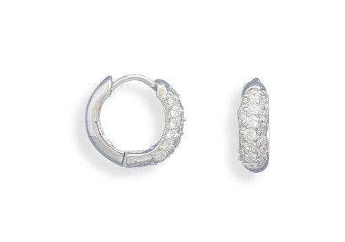 Small Pave Cubic Zirconia/polished Hinged Earrings