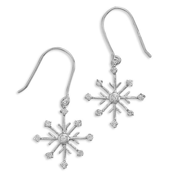 Cubic Zirconia Point Snowflake Drop Earrings