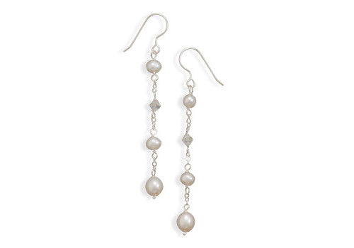 Freshwater Pearl & Swarovski Crystal Drop Earrings