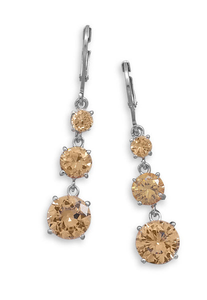 Earrings With Graduated Champagne Cubic Zirconias