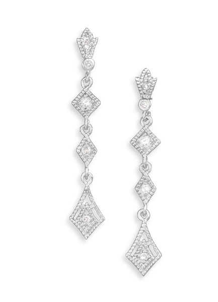 Geometric Shape Drop Earrings With Cubic Zirconia