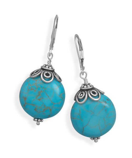 Reconstituted Turquoise Bead Lever Back Earrings