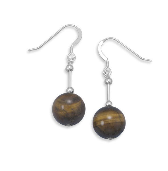 Drop Earrings With 12mm Tiger's Eye Bead