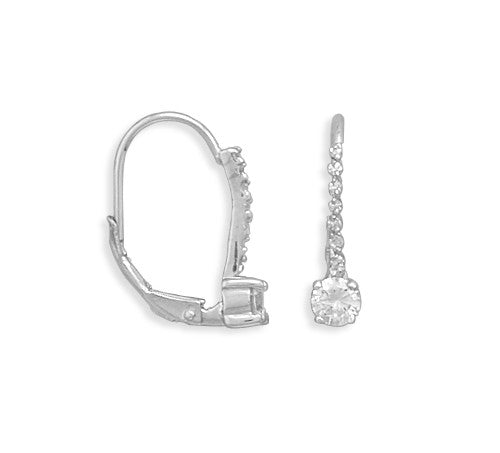 Lever Back Earrings With Cubic Zirconia Drop