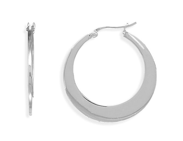 Polished Flat Silver Hoop Earrings