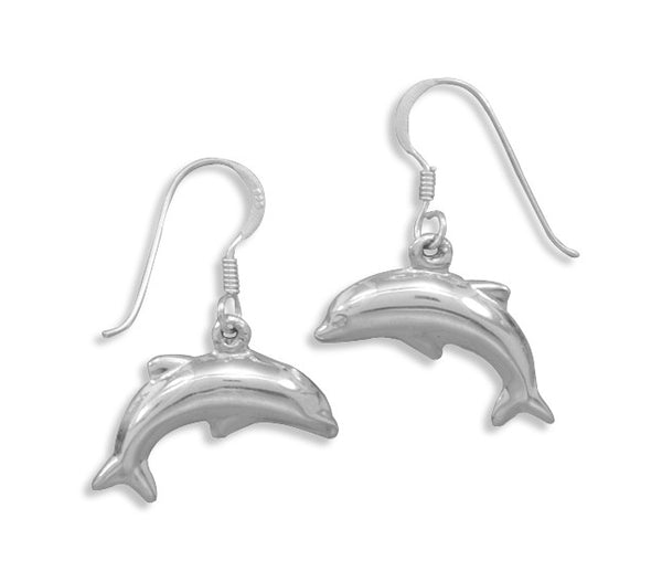 Polished Dolphin Drop Earrings
